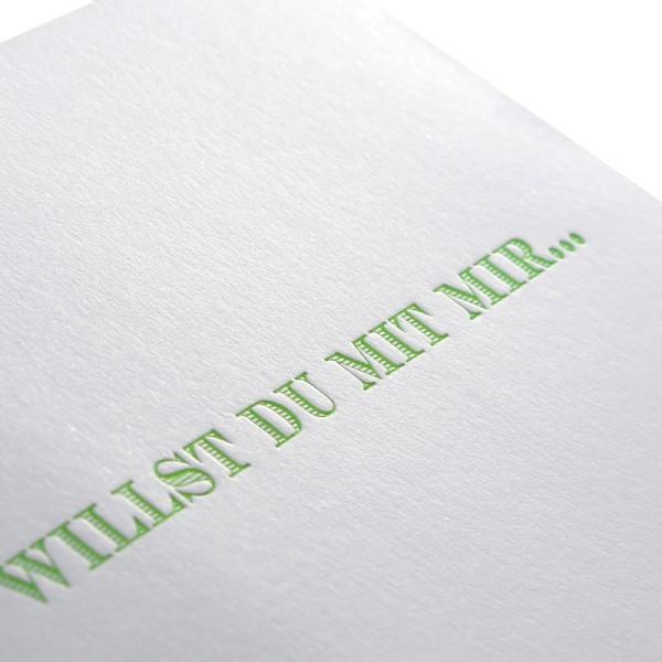 """Letterpress Klappkarte """"Willst Du mit mir..."""""""