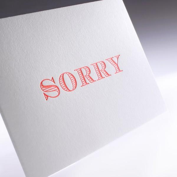 "Letterpress Klappkarte ""Sorry"""