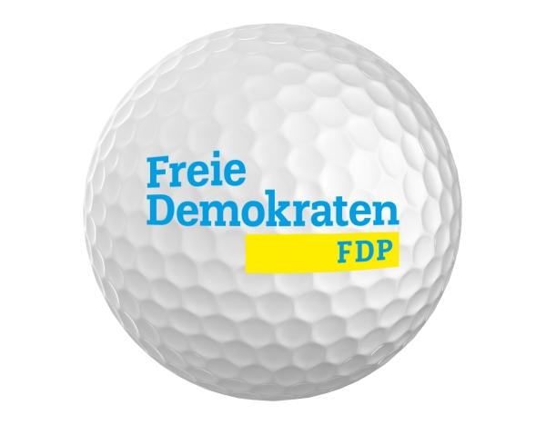 Golfball MIKADO 432 weiß mit Logo der Freien Demokraten