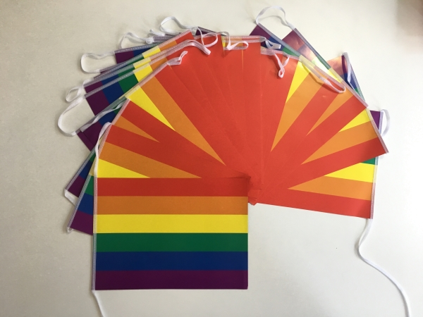 Papierfahnen-Kette 5m : Regenbogen